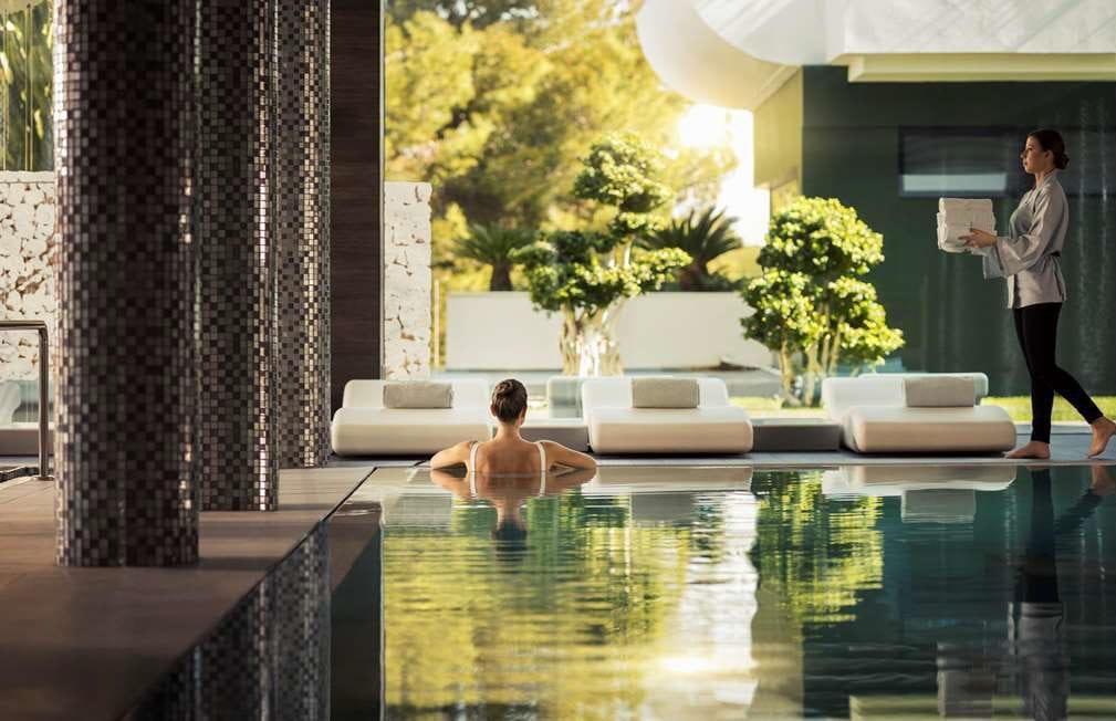 Relaxing at spa pool on wellness retreat