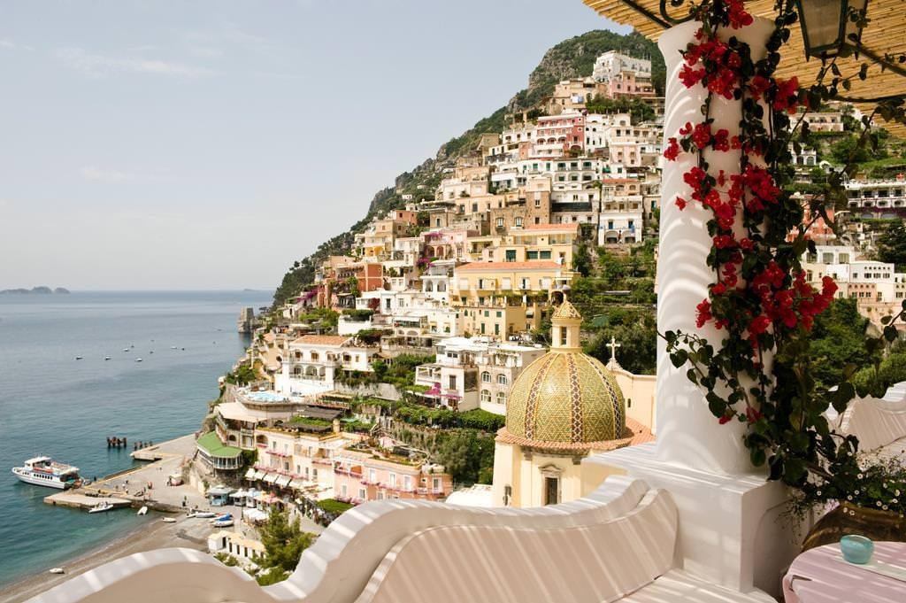 View from Le Sirenuse in Positano, Amalfi Coast