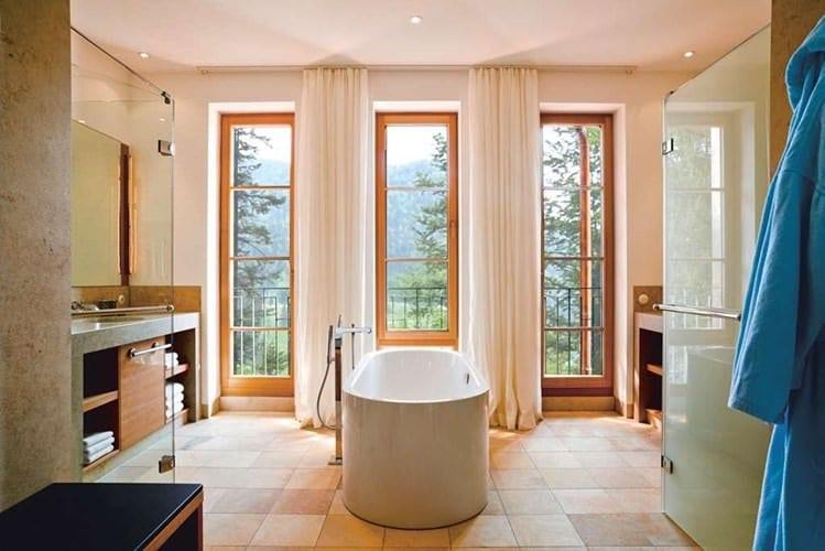 Bathroom and blue robe seen at Schloss Elmau in Bavarian Alps