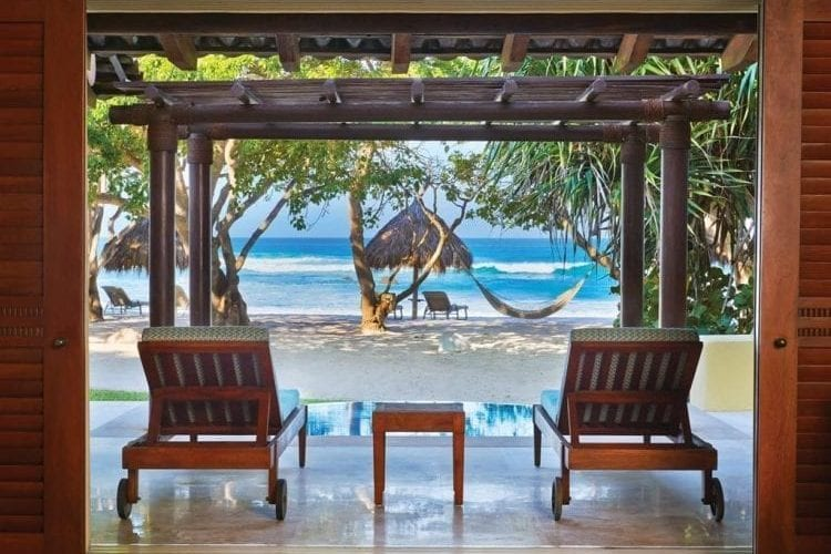 View of the beach from rooms at the Four Seasons Punta Mita
